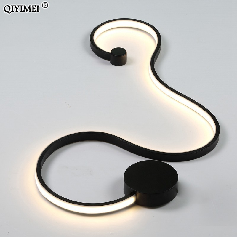 Image 3 - simple creative wall lamps with white or balck color for bedroom bedside decoration Nordic designer living room corridor hotel-in LED Indoor Wall Lamps from Lights & Lighting