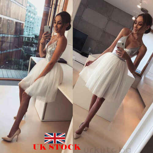 2019 Sexy Lady Sleeveless Dress Women Sequin V neck Dress Formal Ladies Wedding Evening Party Mini A Line Dress