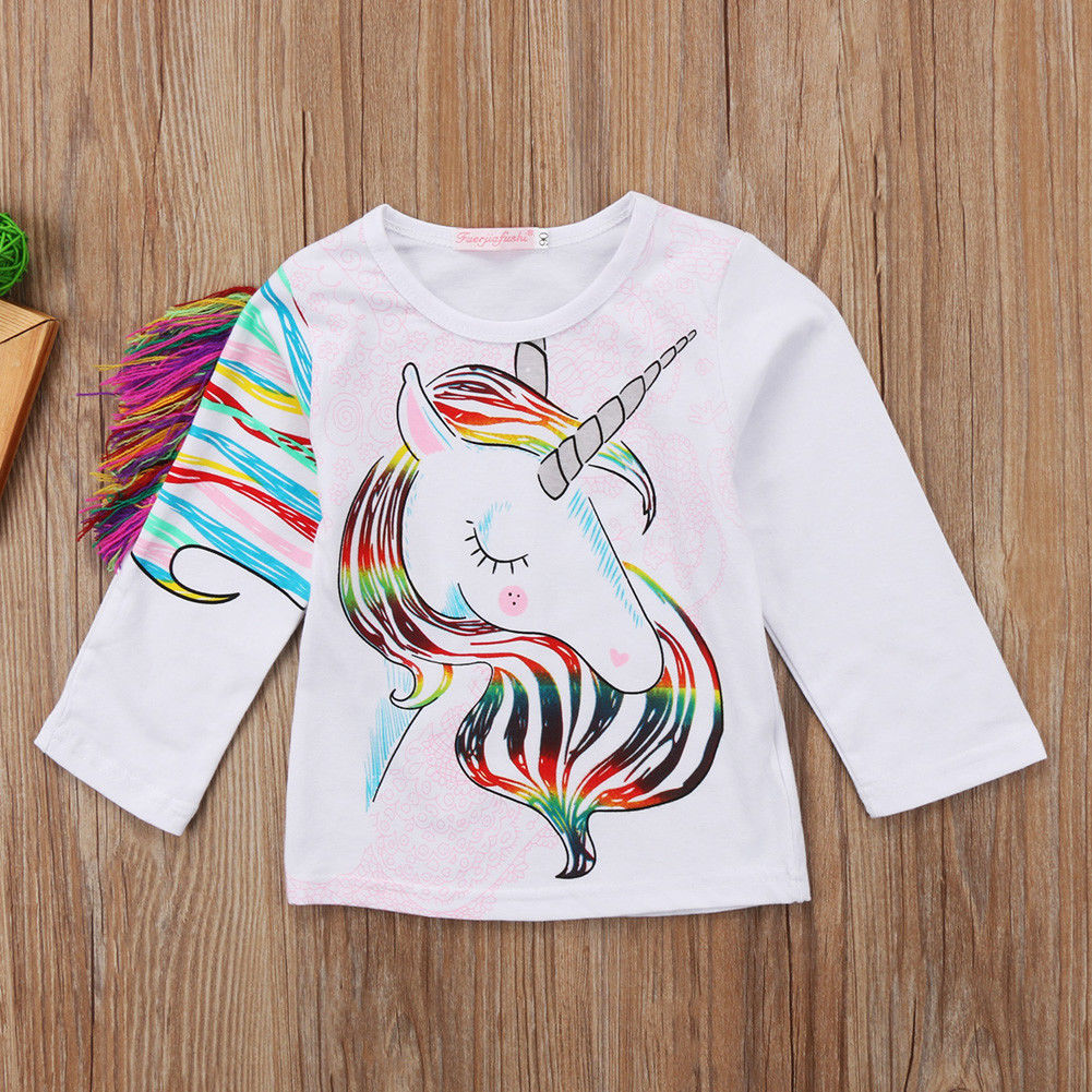 Pudcoco T-Shirt Tops Unicorn Long-Sleeve Toddler Girls Kids Cartoon New Casual 1-6Y
