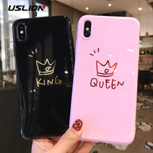 28443309c2 USLION Letter Soft Case For iPhone XR XS Max Glossy Crown KING QUEEN Phone  Cover For iPhone 7 6 6S 8 Plus TPU Silicon Cases Capa