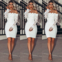 Fashion Womens Lace Summer Mini Dress Lone Sleeve Party Beach Dresses Sundress Sexy Off Shoulder Tassel Bodycon Dress Vestidos open shoulder sleeve womens lace dress