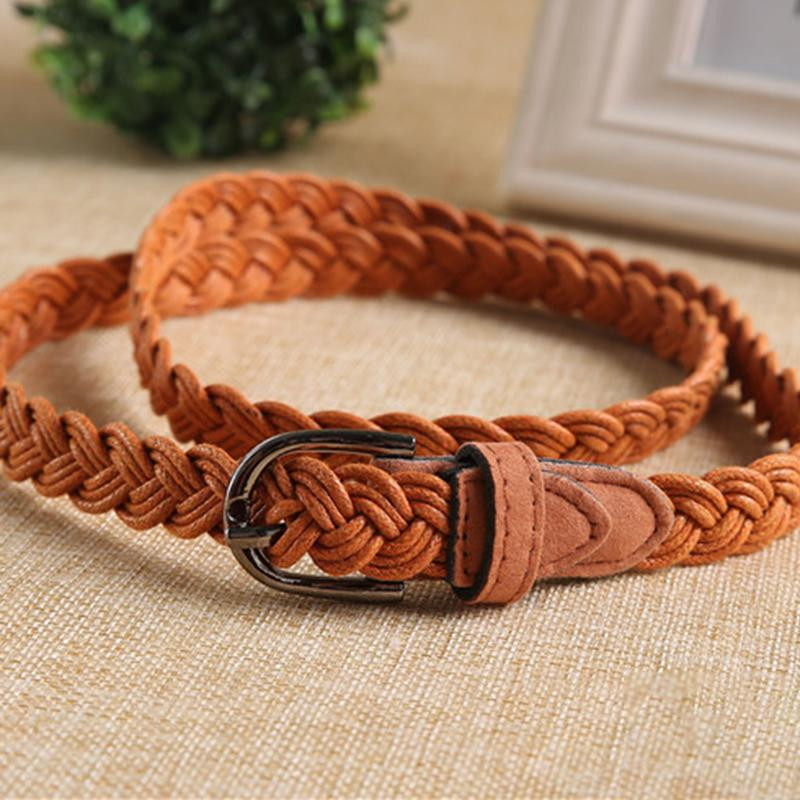 Classic Braided Belt Metal Buckle Hemp Rope Waistband Casual Dress Jeans Woven Waist Belt Female Faux Leather Girdle