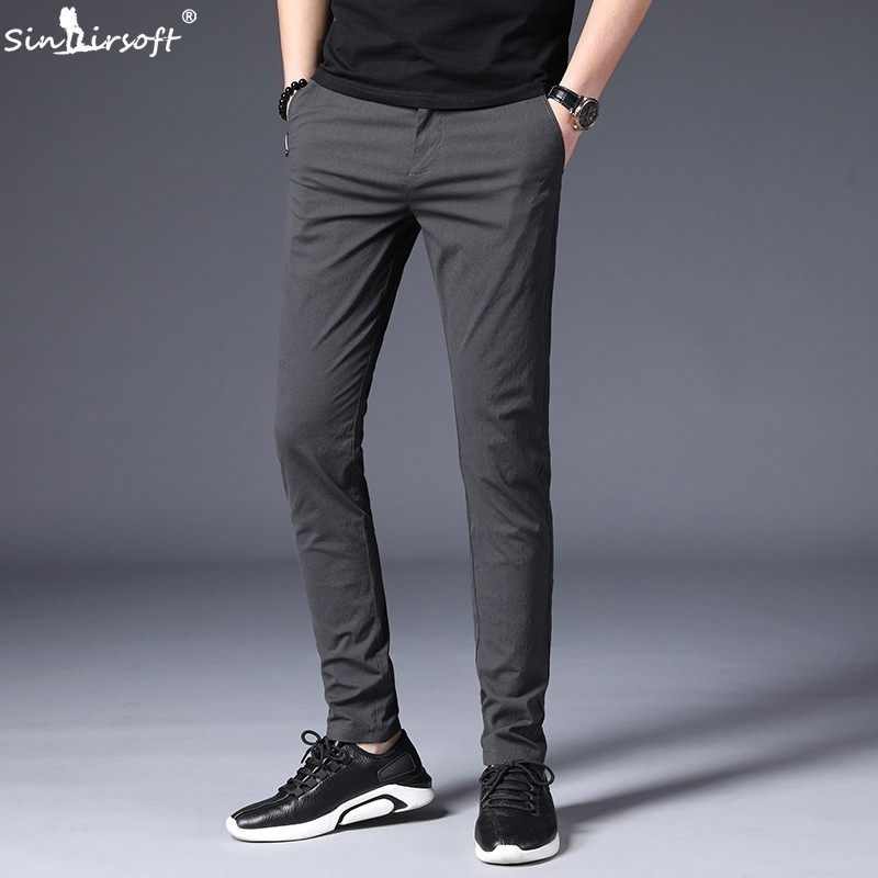 SINAIRSOFT Spring Summer Mens Slim Casual Pants Cotton 2019 New Fashion Business Causal Trouser Men Stretch Black Suit