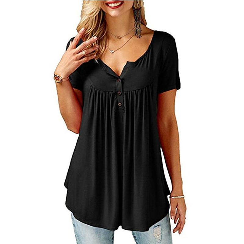 2019 Summer New Women Short Sleeve V Neck Loose Tops T Shirt Sexy Casual Pleated Tee Shirt Camiseta Feminina