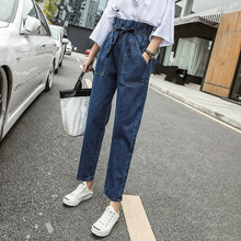 New Women 2019 Fashion Elastic Waist Jeans Harem Pants Washed Denim Pants Female Spring Summer Loose Casual Jeans Plus Size 3XL summer sexy loose denim pants women s boyfriend harem pants casual jeans pants plus size baggy trousers fashion cross pants 3xl