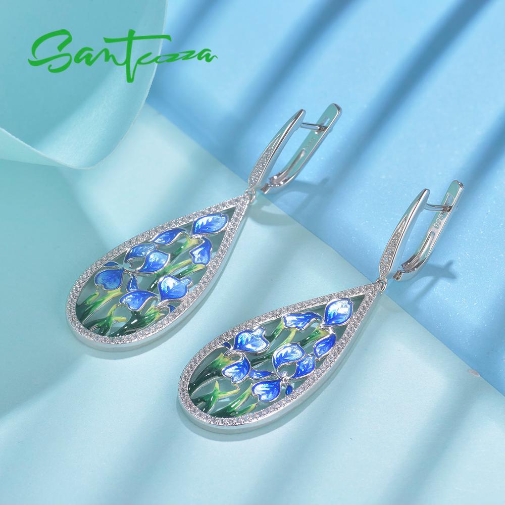 Image 5 - SANTUZZA Silver Flower Earrings For Women 925 Sterling Silver  Dangle Blue Petal Earrings Silver Shiny CZ Jewelry Handmade EnamelDrop  Earrings