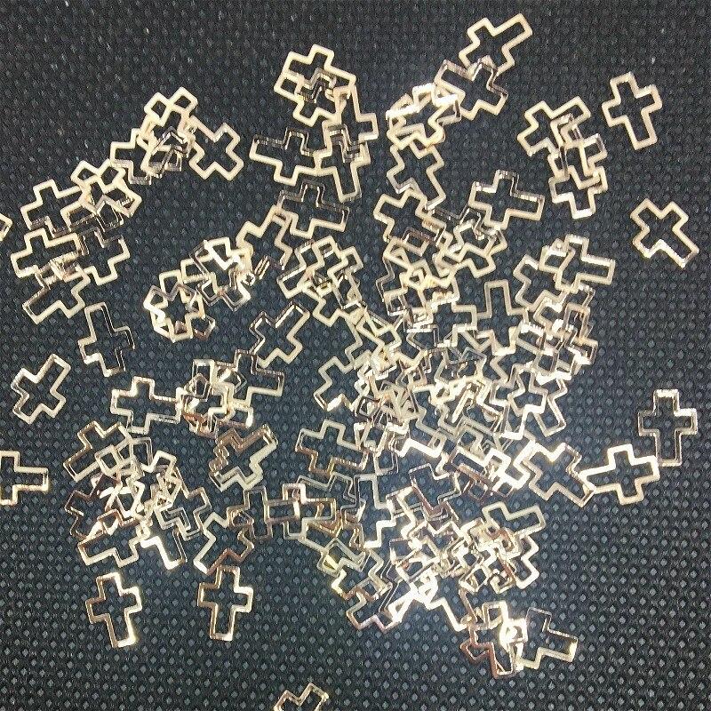 50 шт., украшения для дизайна ногтей в форме сердца из розового золота, милые 3d наклейки в форме Креста, гибридные подвески, металлические зак...