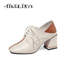 AIKELINYU Mixed Colors Heels High Pumps Women Square Toe Footwear Fashion Cow Leather Shoes Female Office Shoes Woman 2019 New цена 2017