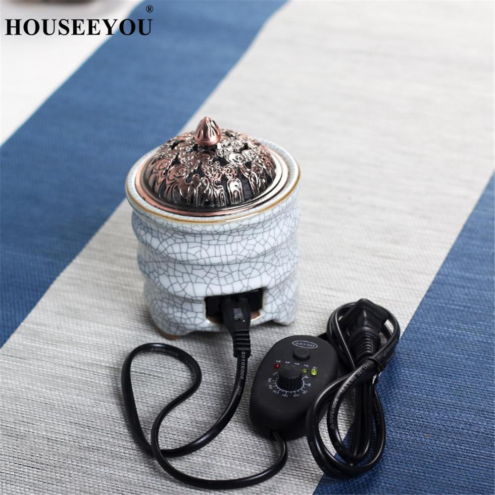 Ceramic Electronic Incense Burner Bamboo Festival Incense Powder Censer Clean Air Aromatherapy Electricity Furnace Incense Base
