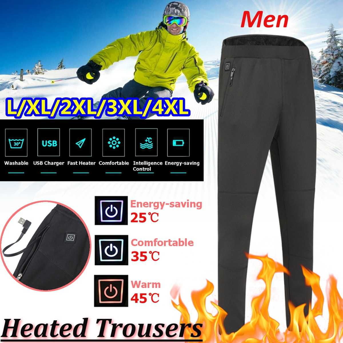 Men Winter Outdoor Hiking Heating Fever Trousers Usb Charging High Waist Leggings Trousers Slim Thickened  Heated PantsMen Winter Outdoor Hiking Heating Fever Trousers Usb Charging High Waist Leggings Trousers Slim Thickened  Heated Pants