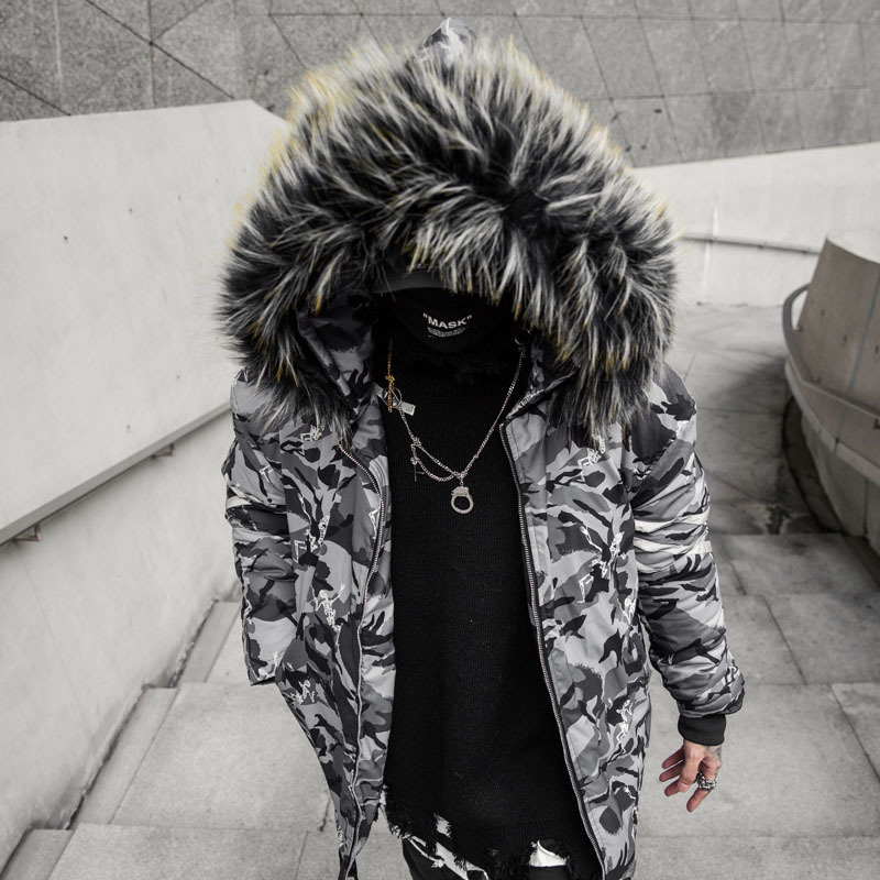 2018 Men's wear new Winter Cotton Camouflage Will Man Jacket loose large size Hip hop thickened printing casual coat