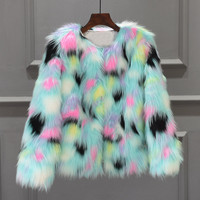 Furry Fur Coat Women Fluffy Warm Long Sleeve Gradient Color Outerwear Autumn Winter Coat Jacket Hairy Collarless Overcoat