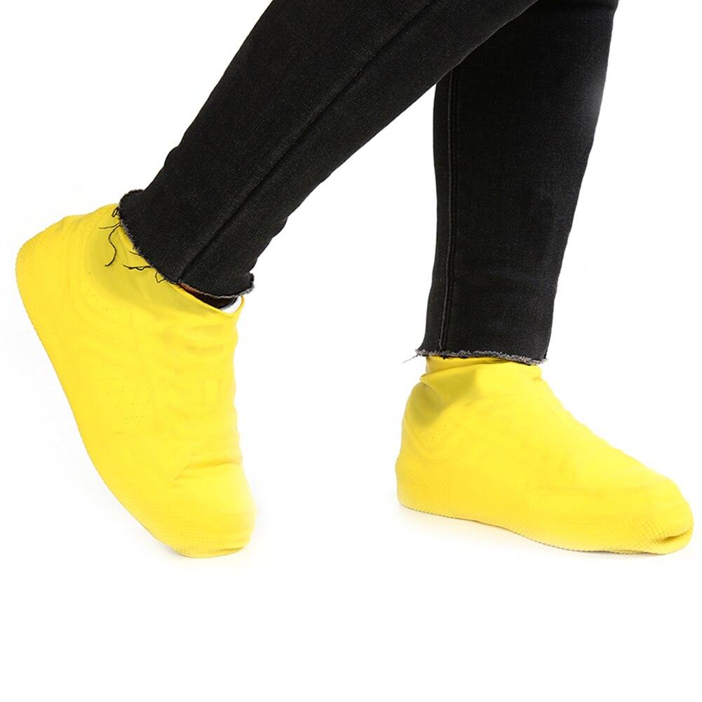1 Paar Schuhe Abdeckungen Mehrweg Latex Wasserdichte Schuhe Abdeckungen Slip-beständig Gummi Regen Schnee Stiefel Hohe Qualität Schuhe Abdeckungen Schwarz GroßE Sorten