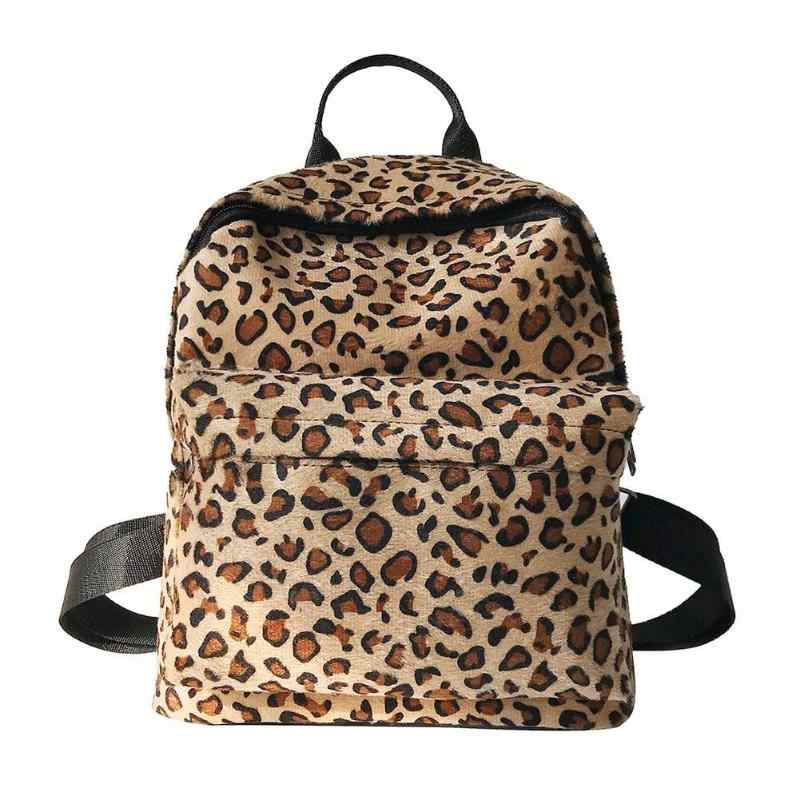 Casual Women Leopard Print Backpack Preppy Style Girls Plush School Travel  Backpack Mochila Feminina 2019 New