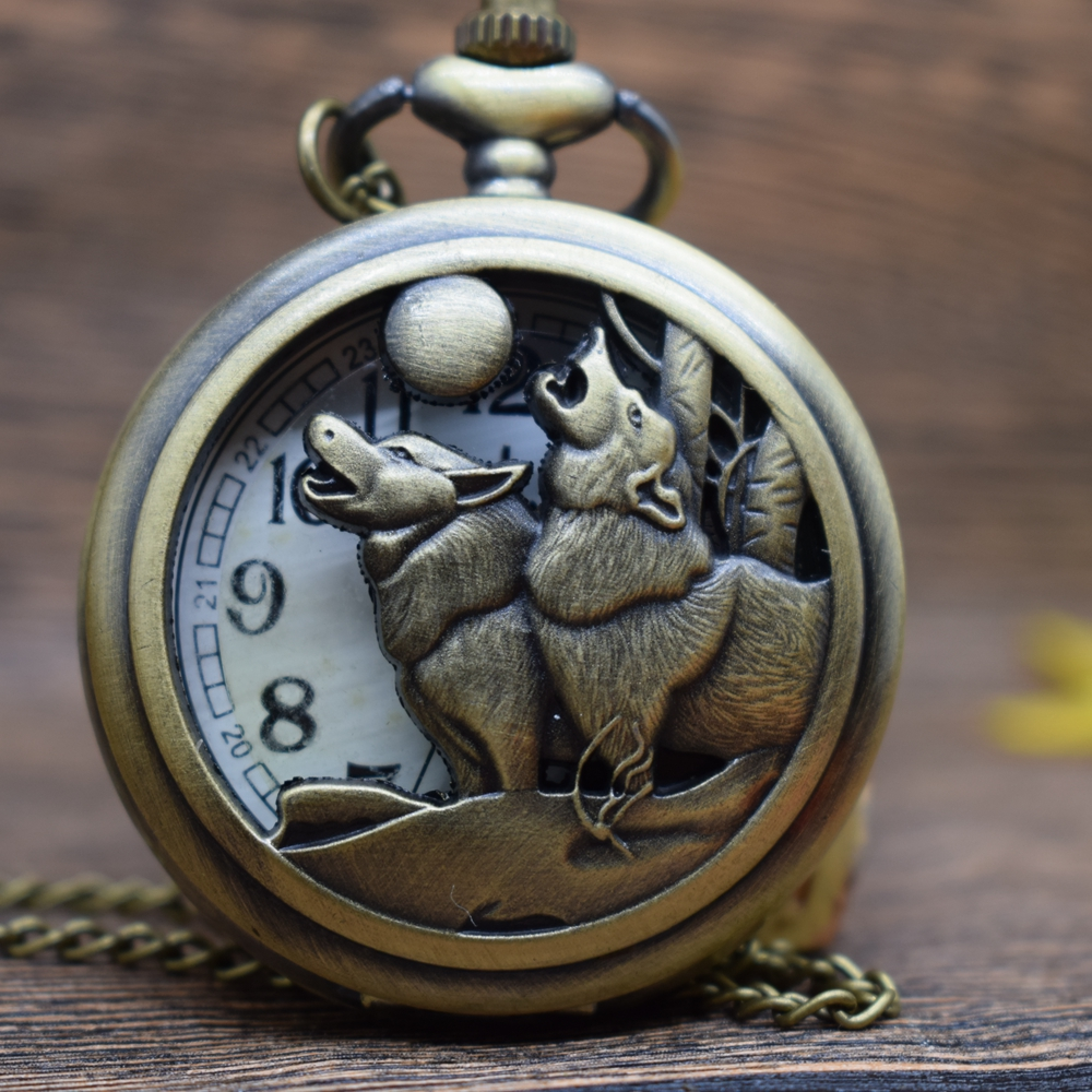 Pocket & Fob Watches Bronze Wolf Animal Quartz Pocket Watches Necklace  Women/Mens  Pendant Watch Gift