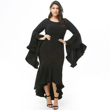 2019 New Design Style Fashion Solid Color Irregular Black Dress Women Plus size