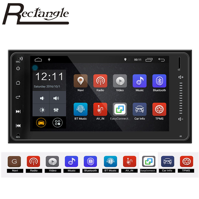 Rectangle RM CLT071 7.0 inch 2 Din Car Multimedia Player Bluetooth GPS Navigator FM WiFi Connection Mirror Link for Toyota