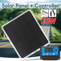12V 20W Dual Output Solar Panel with Car Charger + 10/20/30/40/50A USB Solar Charger Controller for Outdoor Camping LED Light