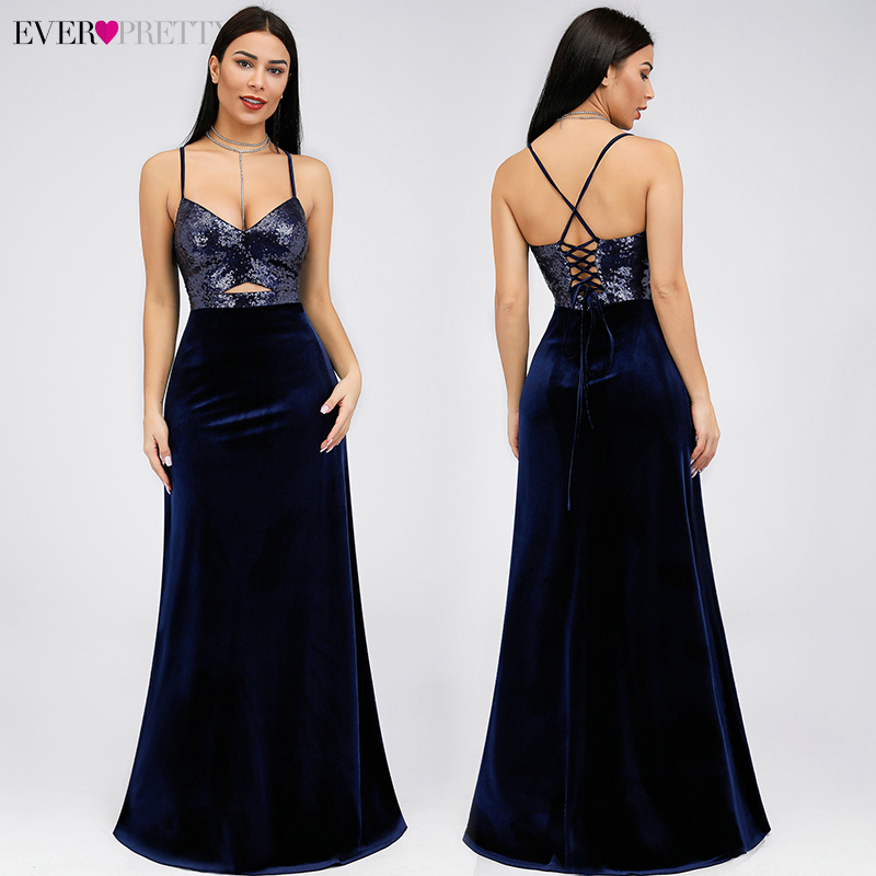 Satin Evening Dresses Long Ever Pretty EP07863 Sequined Sexy Deep V Neck Hollow Out Backless Formal