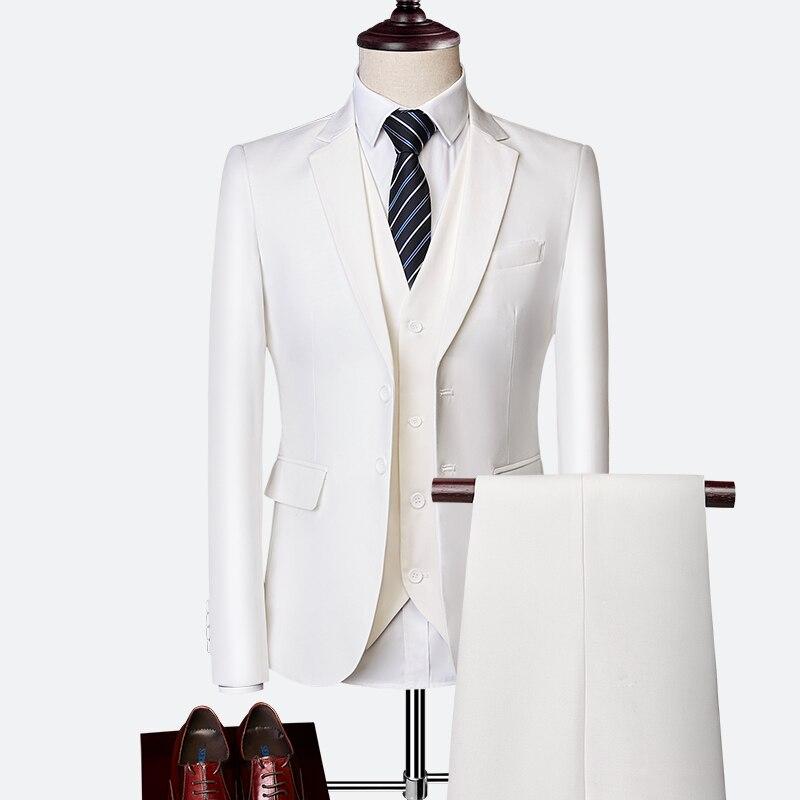 Pure Color Men jacket + Vest + Pants men 10 Colors mens Suit S 6XL men set