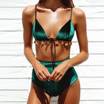 2019 Velvet high waist bikinis mujer bathers Triangle sexy swimsuit push up swimwear women new bathing suit Micro biquini
