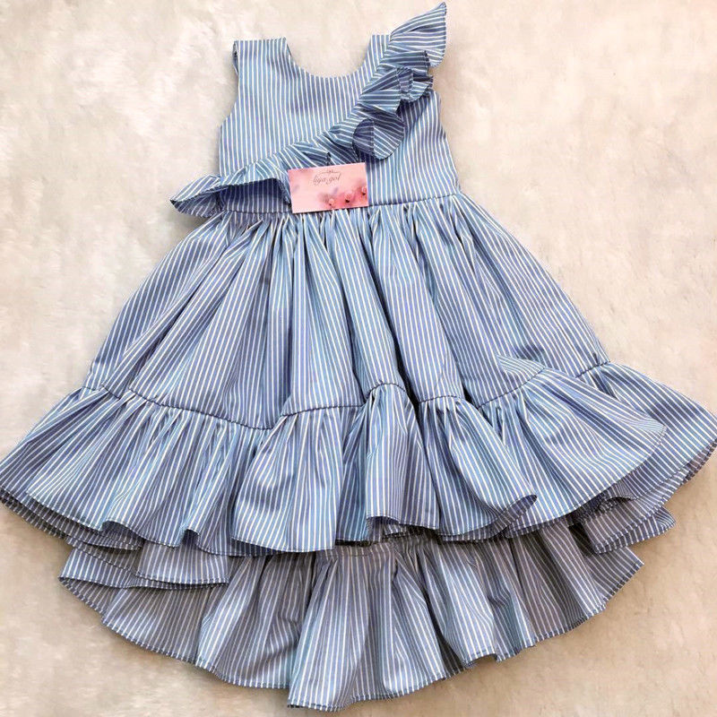 Pudcoco Girl Dress 1Y-6Y Toddler Kids Baby Girls Cotton Party Ruffle Stripes Dress Sundress Clothes