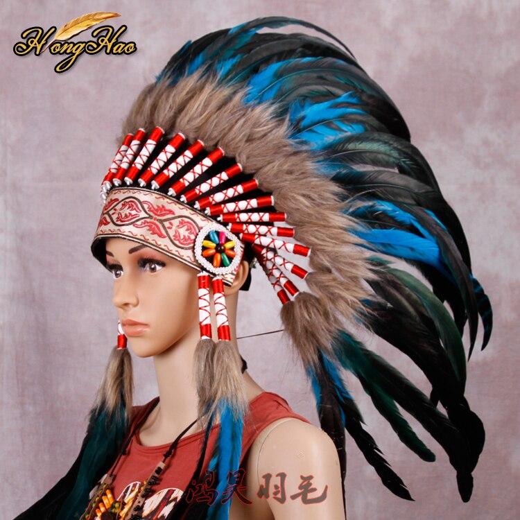 Long Native American Indian Orange Feather Headdress Costume War Bonnet