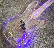Top quality custom acrylic body 4 strings Jazz bass LED lights maple neck electric bass guitars acrylic