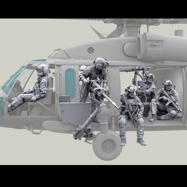 <font><b>1</b></font>/<font><b>35</b></font> <font><b>resin</b></font> model kit <font><b>soldiers</b></font> Helicopter crew and gun (one set )Unpainted and unassembled Free shipping image