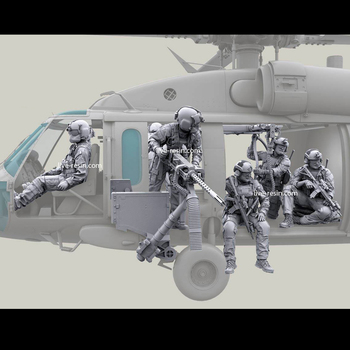 1/35 resin model kit soldiers Helicopter crew and  gun (one  set )Unpainted and  unassembled  Free shipping