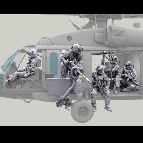 1 35 resina modelo kit soldados helicoptero tripulacao e arma um conjunto sem pintura e