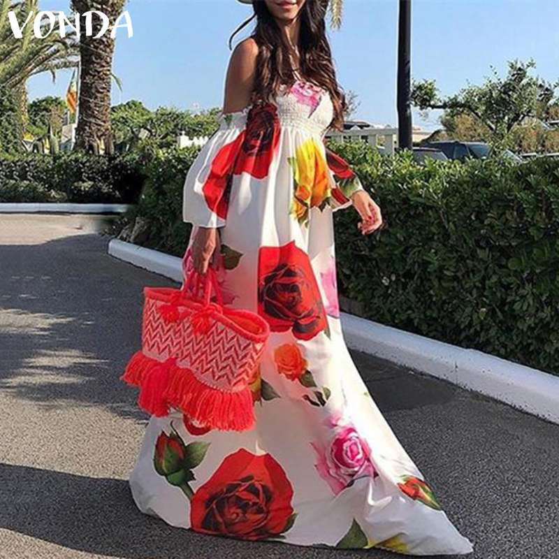 VONDA 2019 Summer Beach Dress Bohemian Women Sexy Off The Shoulder Floral Print Maxi Long Dresses Holiday Plus Size Vestidos 5XL