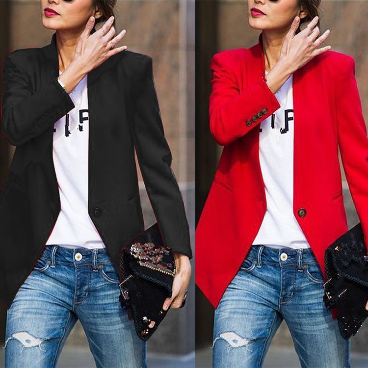 Spring Women Blazer Jacket Fashion Single Button Work Office Lady Suit Solid Casual Slim Business Blazer Coat Female