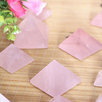 1pc 20-40mm Natural Rose Quartz Pyramid Stone Crystal Feng Shui Healing Specimens 4