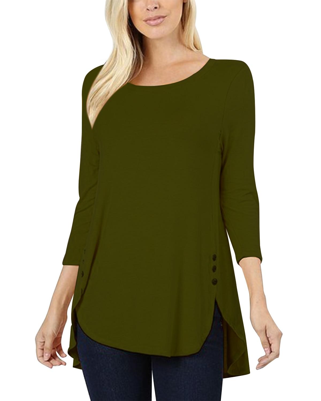 Women Casual Pullover   Blouse     Shirts   Loose Solid Long Sleeve Button Top   Shirts   Plus Size ZANZEA Cotton Irregular O-Neck Blusas