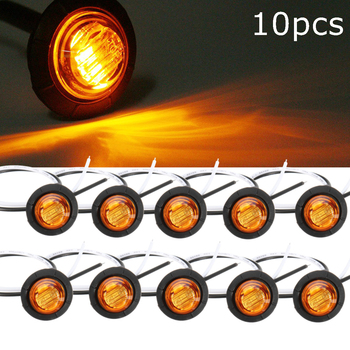 10Pcs Truck Amber Yellow Waterproof LED Light Small Round Side Marker Lights 3 LED Button Lamps Lorry 12V/24V