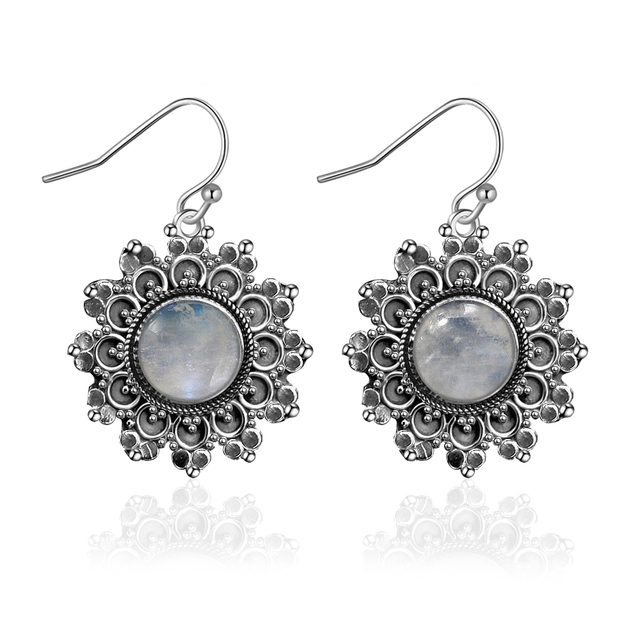 Natural Moonstone Round 6MMS925 Sterling Silver Earrings Vintage Chrysanthemum Earrings Engagement Party Anniversary Gifts