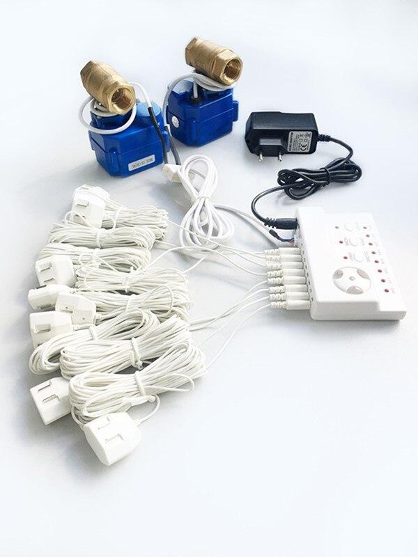 HIDAKA Fuite D'eau Détecteur Alarme Capteur Câble Ue Plug 1/2 * 2 pc BSP TNP Maison Intelligente Arrêt Automatique off valve pour La Russie Ukraine