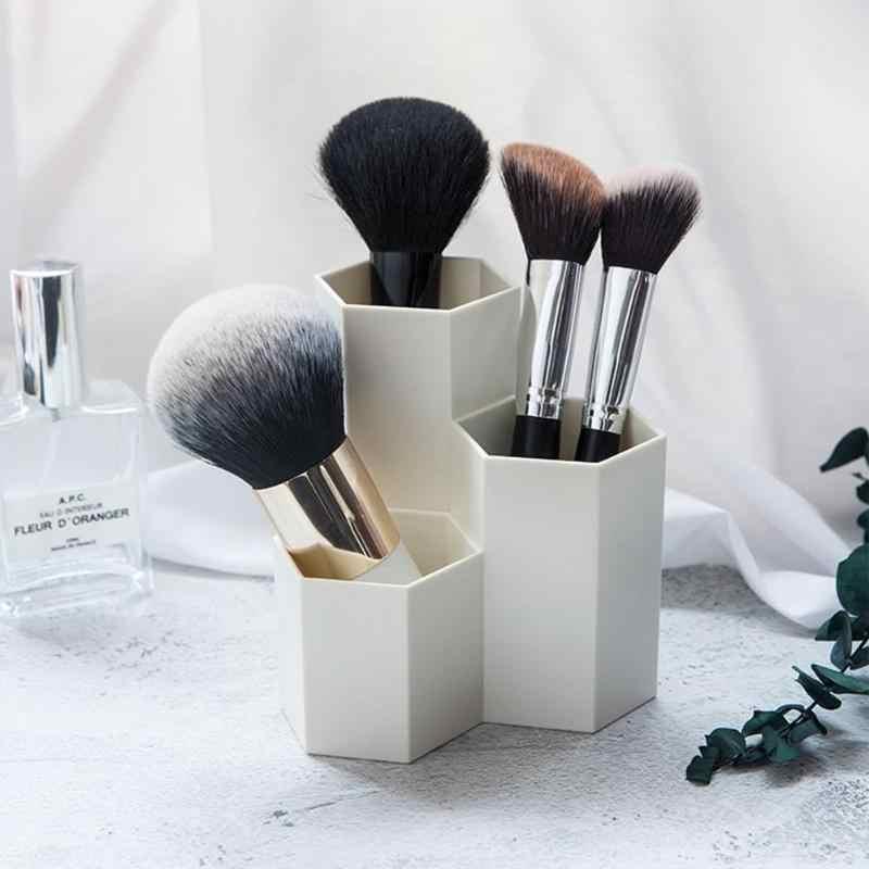 3 格子化粧ブラシボックステーブルオーガナイザーマニキュア化粧品ホルダーアップツールボックスジュエリーディスプレイラックキット