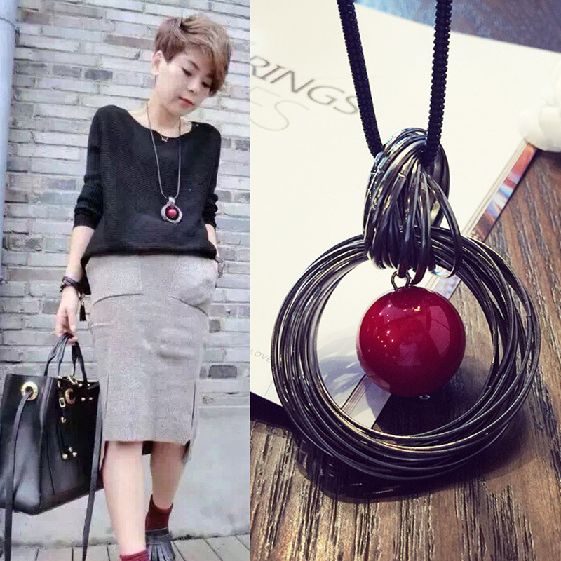 Kvinnor Hängsmycke Halsband Drop Long Paragraph Sweater Chain Dekorativa Crystal Halsband Hänge