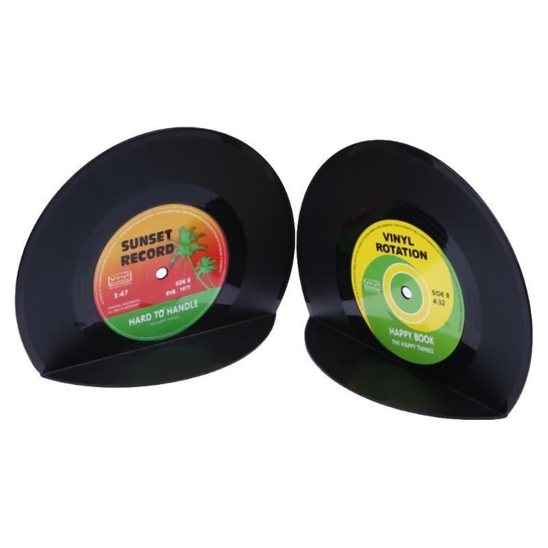 1set/2pcs Retro Vintage Record Bookends Vinyl Book Holder Desk Organizer Desktop School Office Accessories Material Dscolar Office & School Supplies