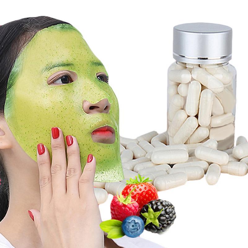 50pcs Collagen Powder Capsules Protein Bioactive Peptides Crystal Face Mask Rejuvenation Shrink Pore Whitening Cream Skin Care
