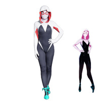 MMGG new Spider Man Into the Spider Verse cosplay Spider Gwen cosplay costume Gwen Stacy jumpsuits mask set for girl women