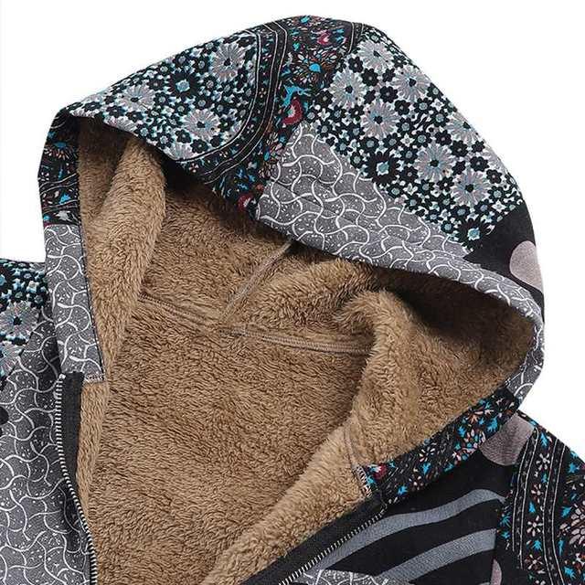 ZANZEA Vintage Women Winter Fur Fleece Long Sleeve Coat Female Hooded Outwear Print Jackets Casual Zipper Cardigans Plus Size 5