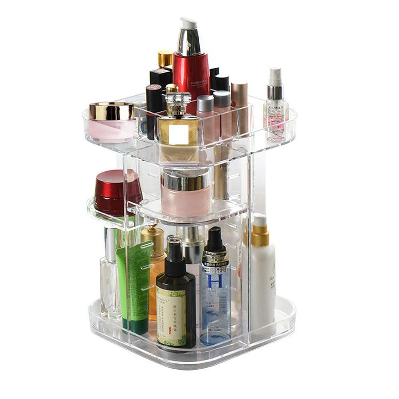 0955e9821182 360 Rotating Makeup Organizer DIY Storage Box Adjustable Acrylic Cosmetic  Brushes Lipstick Holder Make Up Container Stand