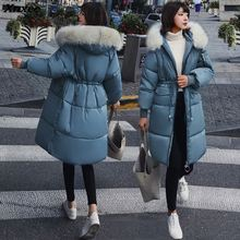 купить 2018 Winter Women Hooded Coat Fur Collar Thicken Warm Long Jacket Female Plus Size Outerwear Parka Ladies Chaqueta Feminino по цене 1965.66 рублей