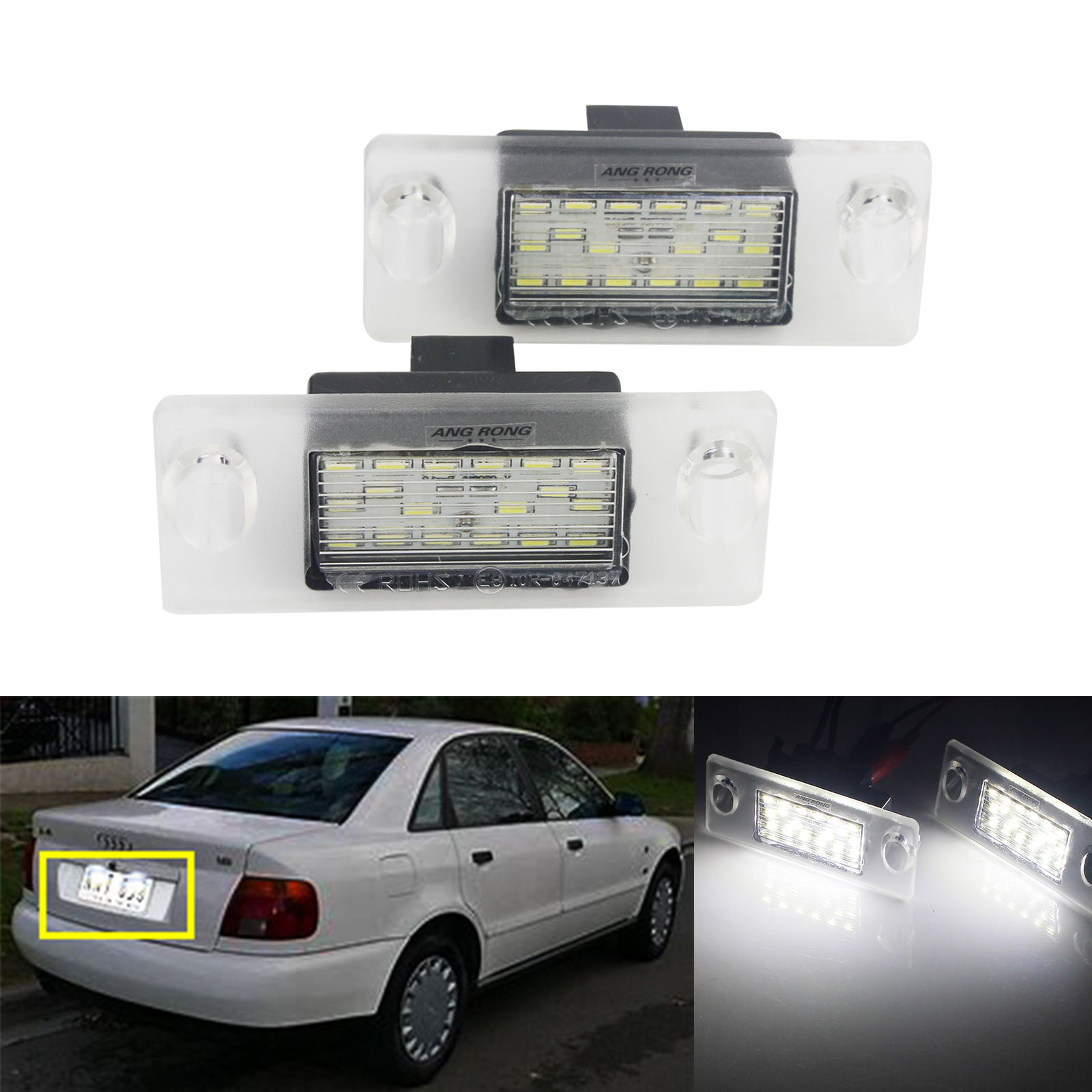 ANGRONG 2x White Canbus LED License Number Plate Light Lamps Canbus For Audi A4 B5 1995-2001