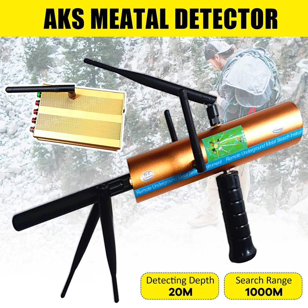 Updatd AKS Handhold Antenna Professional Metal/Gold 3D Metal Detector 1000m Range Machinery Gold Finder 2019 New Arrival