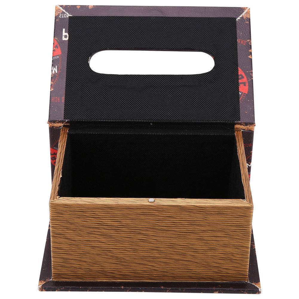 Retro PU Leather Book Shape Tissue Box Cover Holder Living Room Decoration