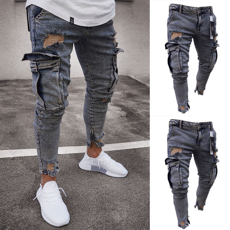 Men's Stretchy Ripped Skinny Biker Destroyed Taped Slim Fit Pants